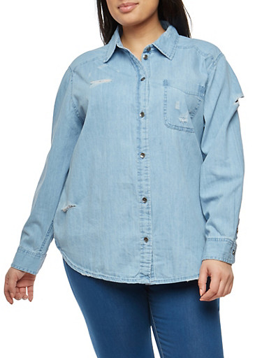 Plus Size Denim Button Front Top,LIGHT WASH,large
