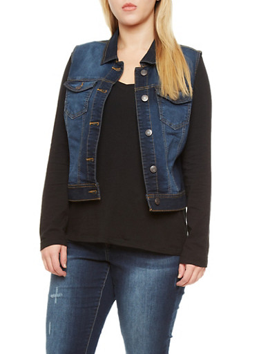 Plus Size WAX Denim Vest,DARK WASH,large