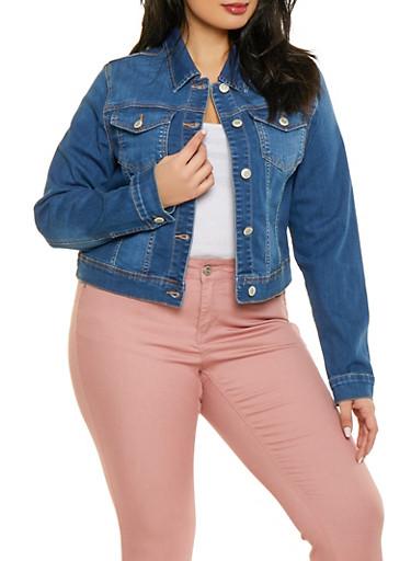 Plus Size WAX Denim Jacket,MEDIUM WASH,large