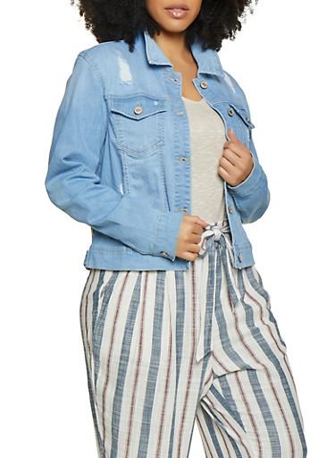Plus Size WAX Basic Distressed Denim Jacket,LIGHT WASH,large