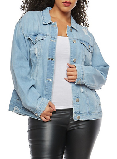 Plus Size WAX Oversized Distressed Denim Jacket,LIGHT WASH,large