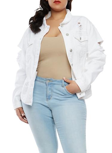 Plus Size WAX Destroyed Denim Jacket,WHITE,large