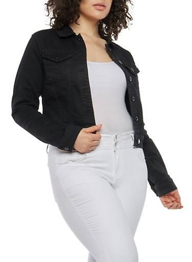 Plus Size WAX Black Jean Jacket | Tuggl