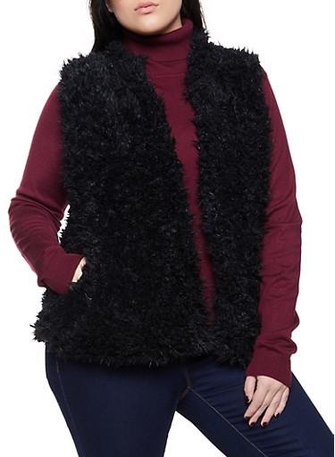 Plus Size Open Front Faux Fur Vest,BLACK,large