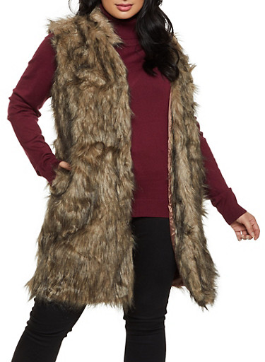 Plus Size Long Faux Fur Vest,BROWN,large