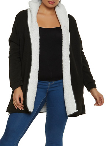 Plus Size Sherpa Lined Hooded Jacket,BLACK,large