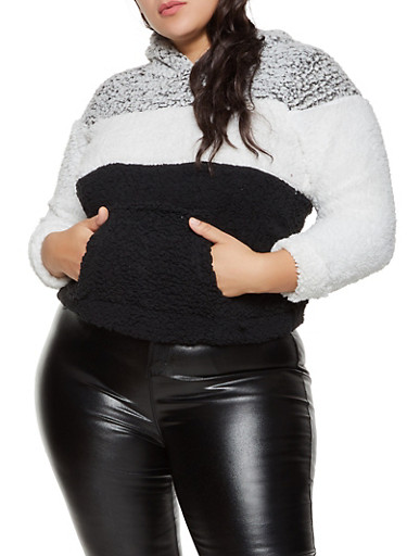 Plus Size Sherpa Color Block Sweatshirt,GRAY,large