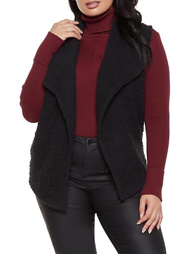 Plus Size Sherpa Open Front Vest,BLACK,large