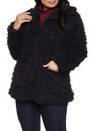 Plus Size Sherpa Collared Jacket,BLACK,large