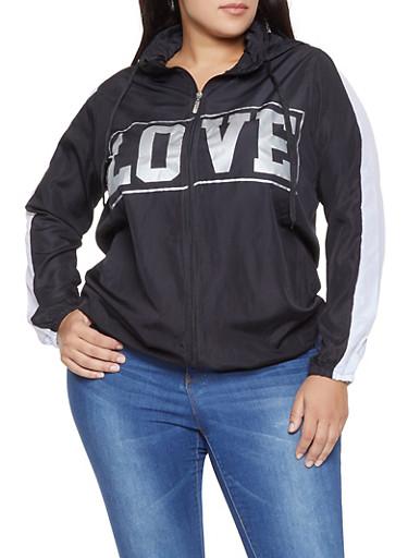 Plus Size Love Graphic Hooded Windbreaker,BLACK/WHITE,large