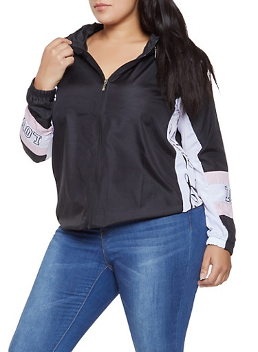 Plus Size Love Graphic Hooded Windbreaker,BLACK,large