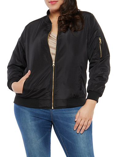 Plus Size Zipper Sleeve Detail Bomber Jacket,BLACK,large