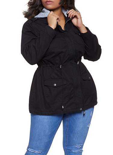 Plus Size Fleece Hooded Anorak Jacket,BLACK,large
