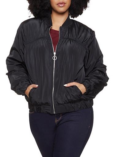 Plus Size Ruched Bomber Jacket,BLACK,large
