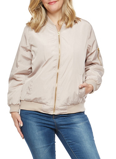 Plus Size Bomber Jacket,MAUVE,large