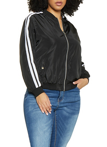 Plus Size Varsity Stripe Nylon Bomber Jacket,BLACK,large