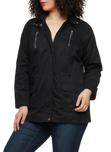 Plus Size Twill Hooded Anorak Jacket,BLACK,large