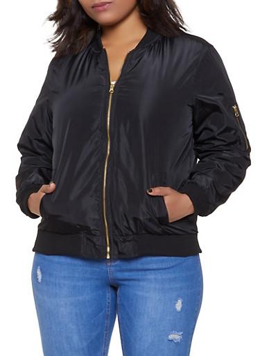 Plus Size Bomber Jacket,BLACK,large