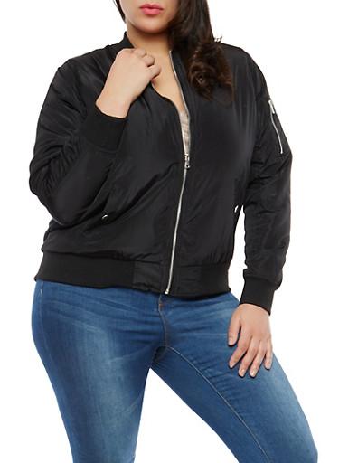 Plus Size Ruched Sleeve Bomber Jacket,BLACK,large