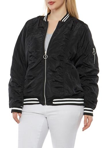 Plus Size Striped Trim Bomber Jacket,BLACK,large