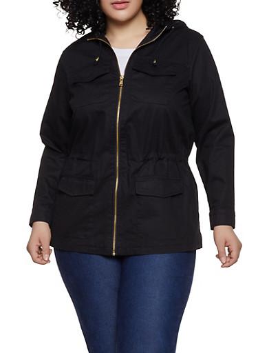 Plus Size 4 Pocket Hooded Anorak Jacket,BLACK,large