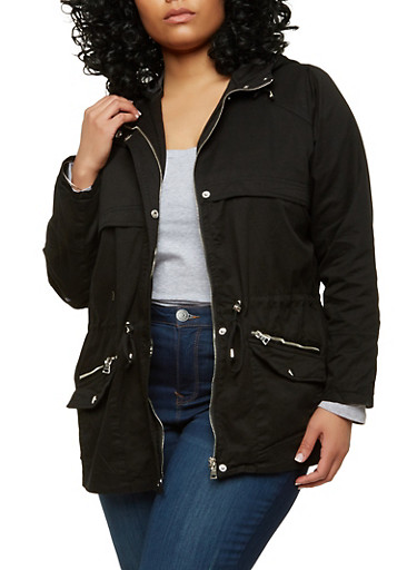 Plus Size Twill Hooded Anorak Jacket,BLACK,large