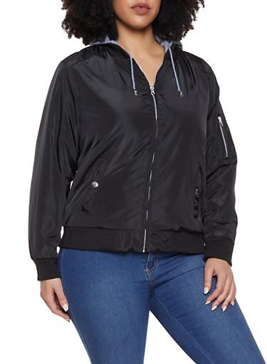 Plus Size Sweatshirt Hood Bomber Jacket,BLACK,large