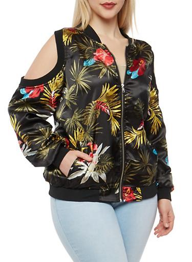 Plus Size Floral Cold Shoulder Bomber Jacket,PRINT0467,large
