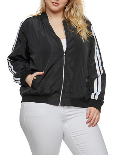 Plus Size Varsity Stripe Lightweight Bomber Jacket | Tuggl