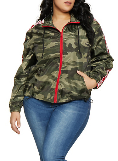 Plus Size Camo Queen Tape Windbreaker,OLIVE,large