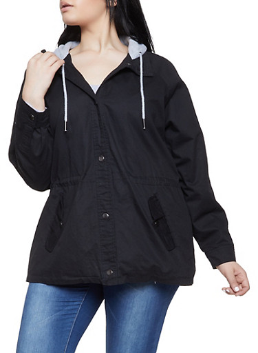 Plus Size Contrast Hood Anorak Jacket,BLACK,large