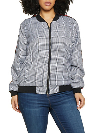 Plus Size Striped Tape Plaid Bomber Jacket,BLACK/WHITE,large