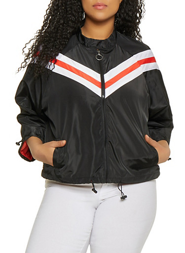 Plus Size Drawstring Hem Chevron Windbreaker,BLACK,large