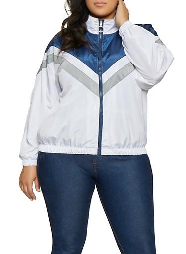 Plus Size Chevron Detail Windbreaker Jacket,NAVY,large