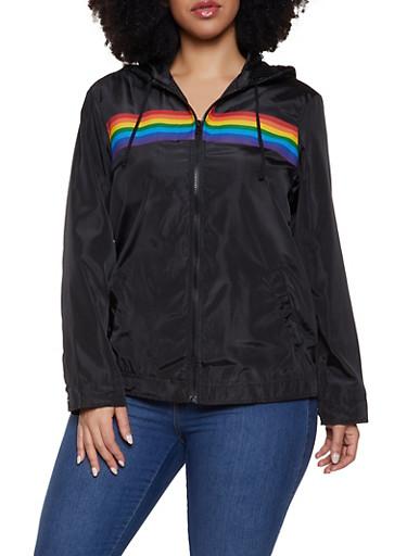 Plus Size Rainbow Stripe Windbreaker,BLACK,large