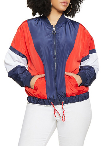 Plus Size Drawstring Hem Windbreaker,RED,large