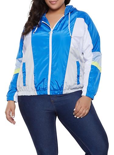 Plus Size Color Block Hooded Windbreaker Jacket,RYL BLUE,large