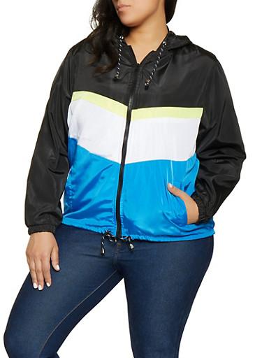 Plus Size Color Block Windbreaker Jacket | 1886051067545,RYL BLUE,large