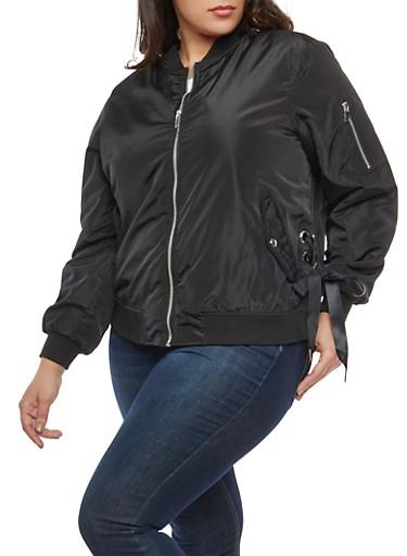 Plus Size Lace Up Side Bomber Jacket,BLACK,large