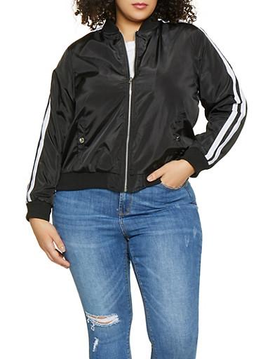 Plus Size Varsity Stripe Bomber Jacket,BLACK,large