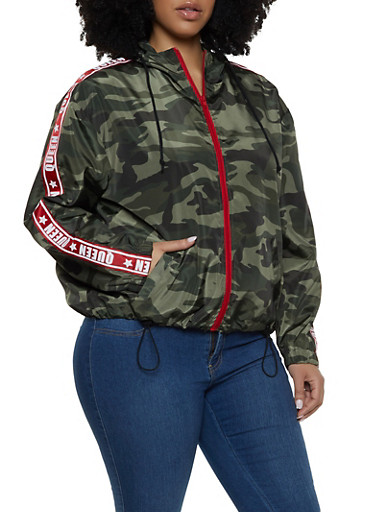 Plus Size Queen Tape Camo Windbreaker,OLIVE,large
