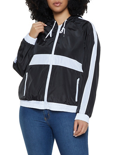 Plus Size Color Block Windbreaker Jacket,BLACK,large