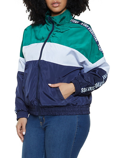 Plus Size Tri Tone Graphic Tape Windbreaker,NAVY,large