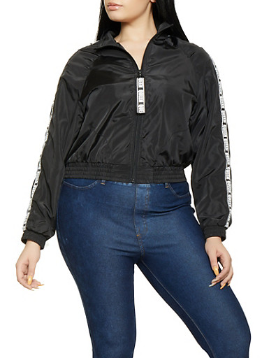 Plus Size Queen Tape Windbreaker Jacket,BLACK,large