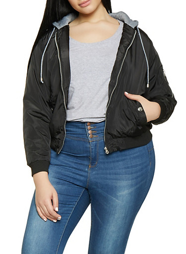 Plus Size Hooded Bomber Jacket,BLACK,large