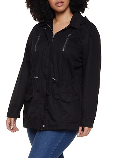 Plus Size Drawstring Waist Anorak Jacket by Rainbow