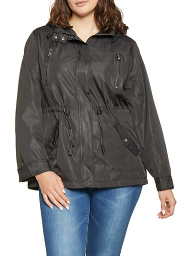 Plus Size Lightweight Anorak Jacket,BLACK,large