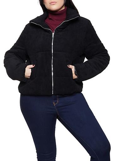 Plus Size Corduroy Puffer Jacket,BLACK,large