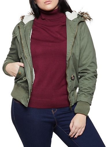 Plus Size Hooded Sherpa Lined Bomber Jacket,OLIVE,large