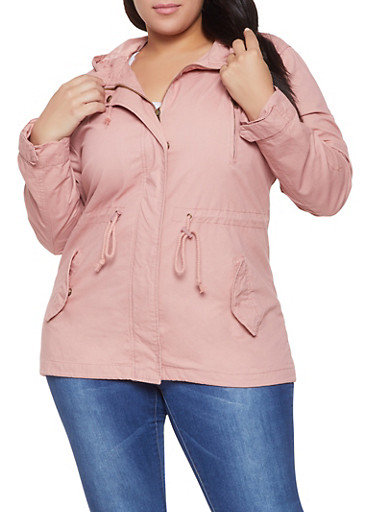 Plus Size Drawstring Hooded Anorak Jacket,MAUVE,large